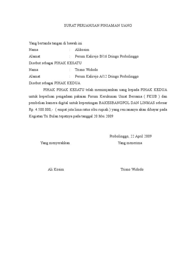 6. Contoh Surat Pernyataan Hutang Piutang Koperasi