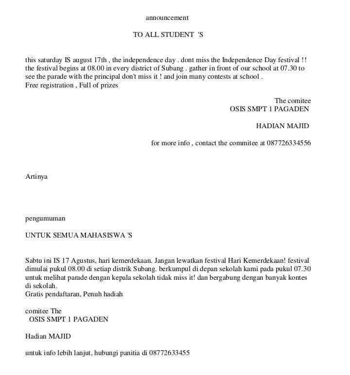 Contoh Surat Liburan Dalam Bahasa Inggris - Berbagai Contoh