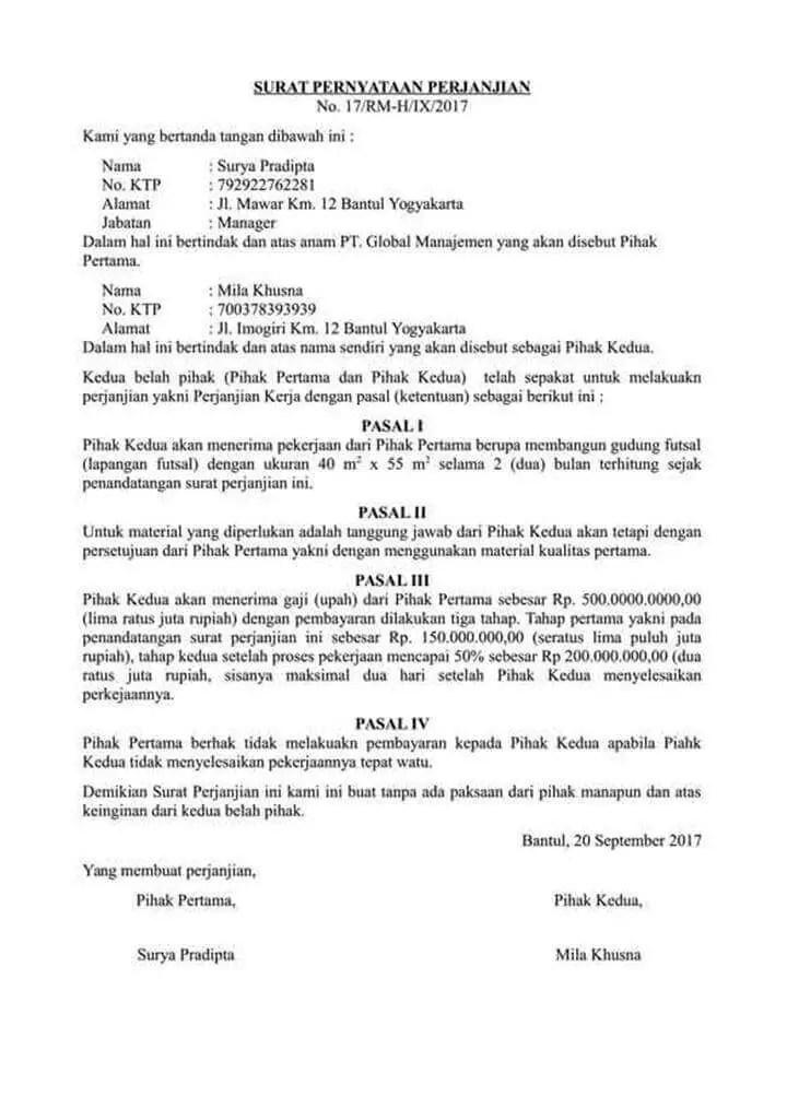 Contoh Pernyataan Perjanjian