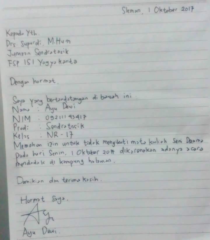 Contoh Surat Cuti Tulisan Tangan