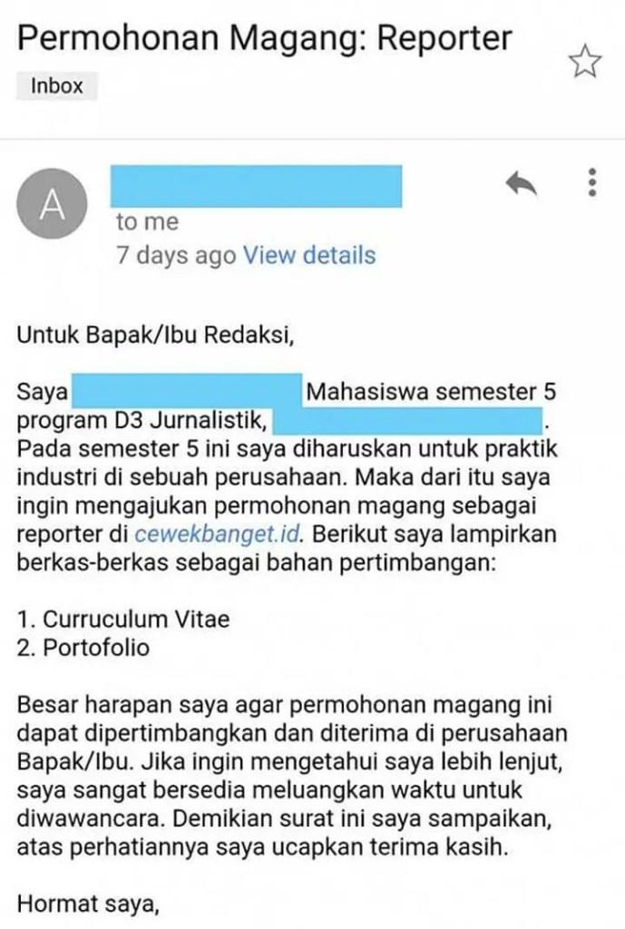 Email Permohonan Magang Mahasiswa