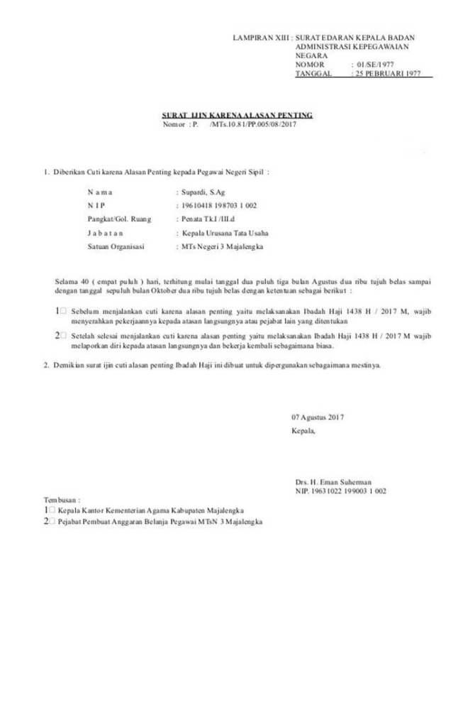 Surat Cuti Karena Alasan Penting