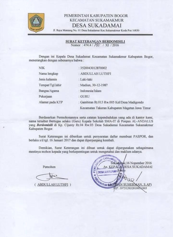 Surat Domisili Untuk Paspor