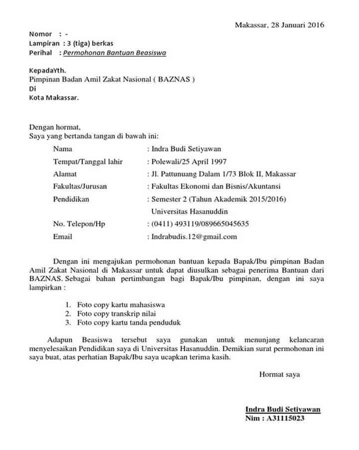 Surat Permohonan Bantuan Dana Baznas