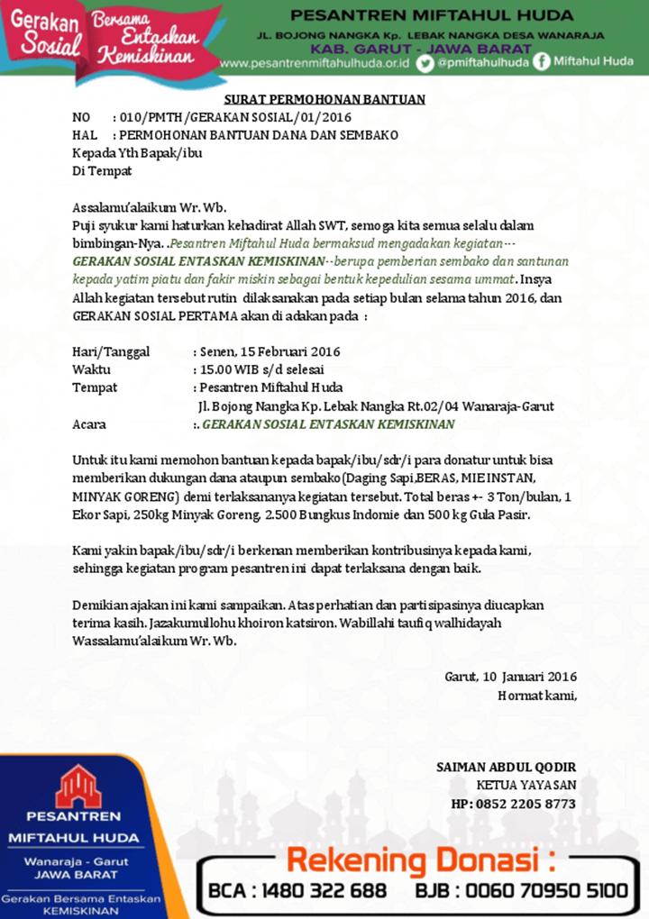 Surat Permohonan Bantuan Sembako