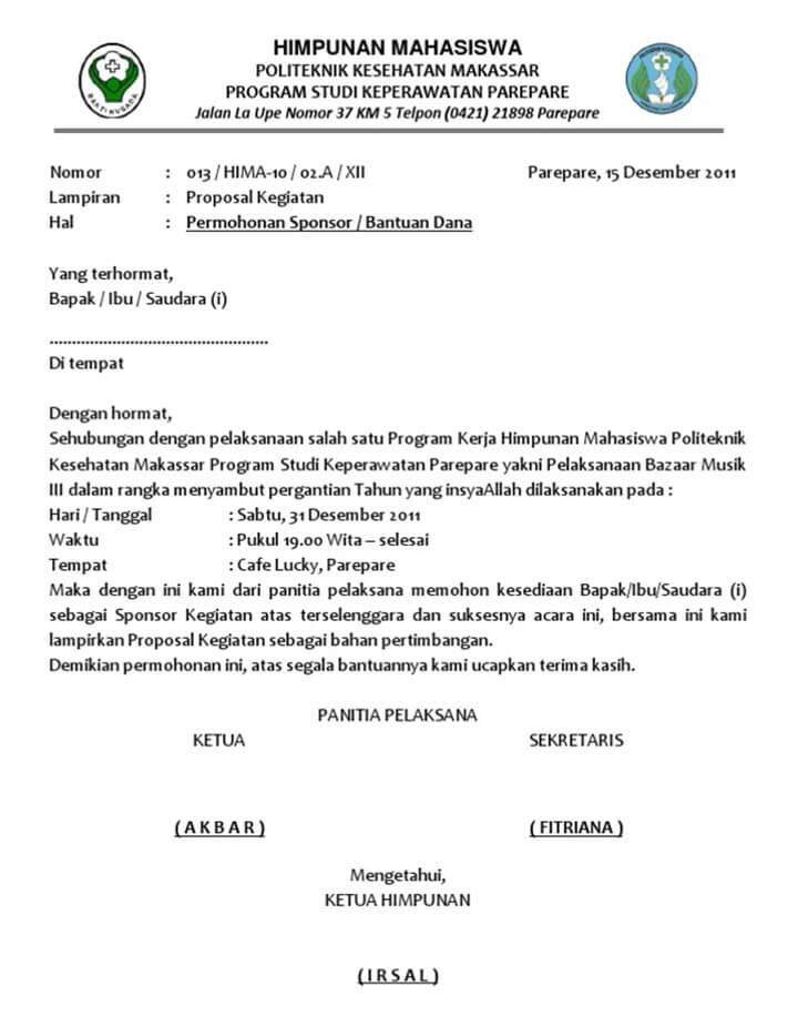 Surat Permohonan Dana Sponsor