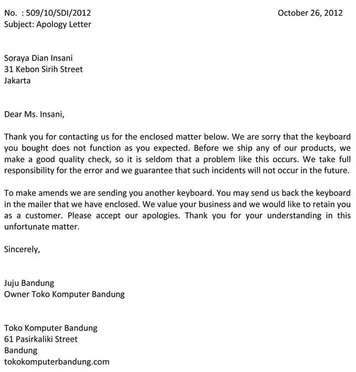 Surat Permohonan Maaf Bahasa Inggris