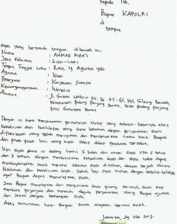 Surat Permohonan Maaf Tulis Tangan