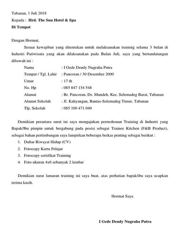 Surat Permohonan Magang di Hotel
