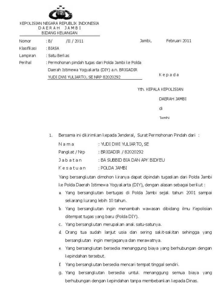 Surat Permohonan Pindah Tugas Polri