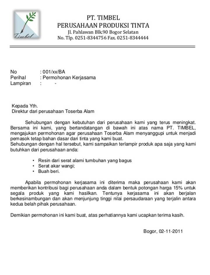 Surat Permohonan Resmi Perusahaan