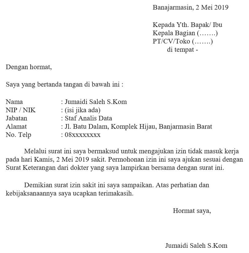 10. Contoh Surat Izin Tidak Masuk Kerja Pegawai