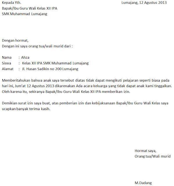 12. Contoh Surat Izin Tidak Masuk Sekolah Karena Ada Urusan Keluarga