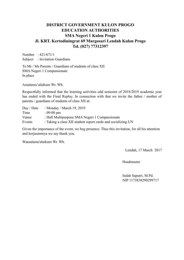12. Contoh Surat Resmi Sekolah Bahasa Inggris