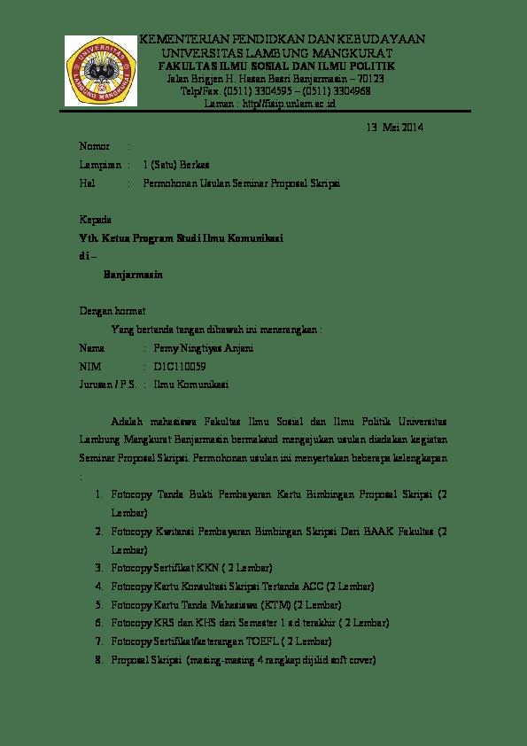 2. Contoh Surat Pengajuan Proposal