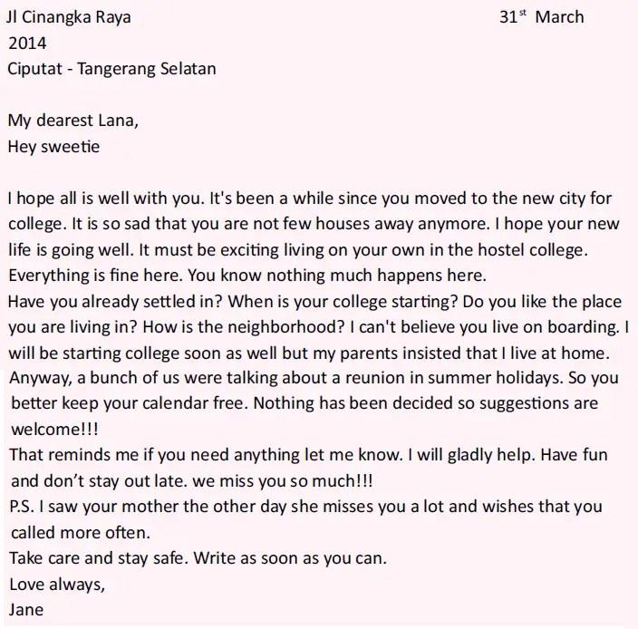 2. Contoh Surat Sahabat Pena Dalam Bahasa Inggris Mengenai Liburan