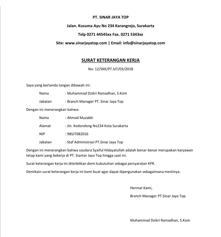 16 Contoh Surat Keterangan Kerja Untuk Visa Bank Kpr Dan Kuliah Contoh Surat