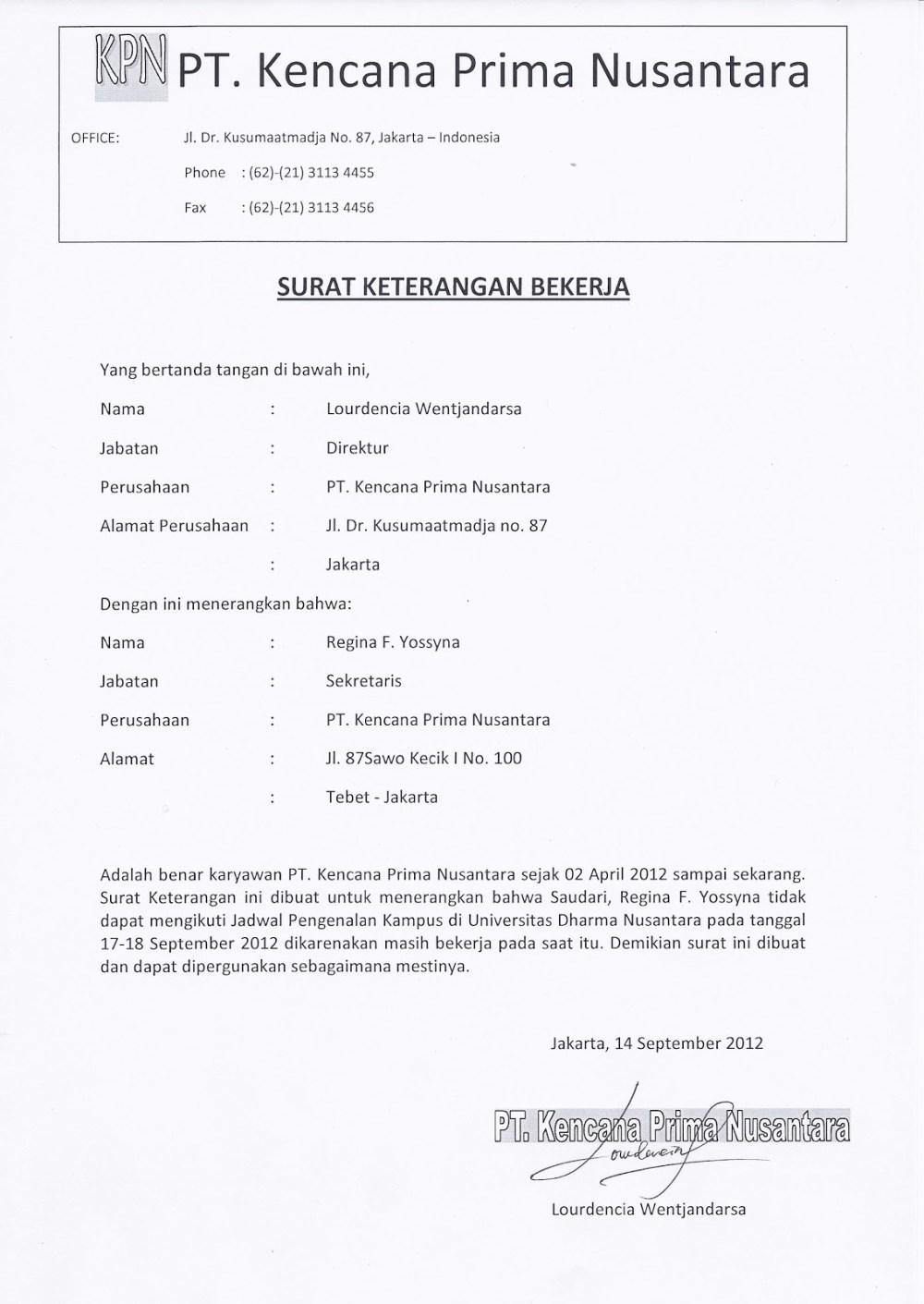 4. Contoh Surat Keterangan Kerja Untuk Kuliah Terkait Penggantian Jadwal