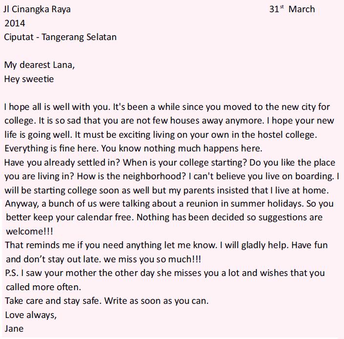 4. Contoh Surat Tidak Resmi Dalam Bahasa Inggris Untuk Teman