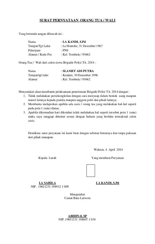 5. Contoh Surat Pernyataan Orang Tua Untuk POLRI