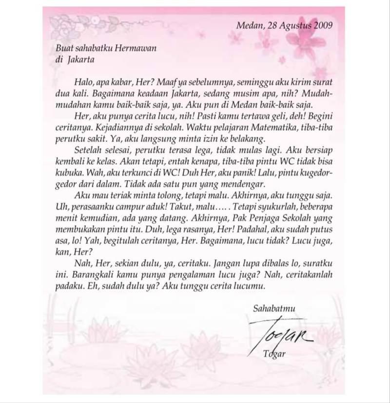 5. Contoh Surat Pribadi Untuk Sahabat Pena Berupa Permintaan Maaf