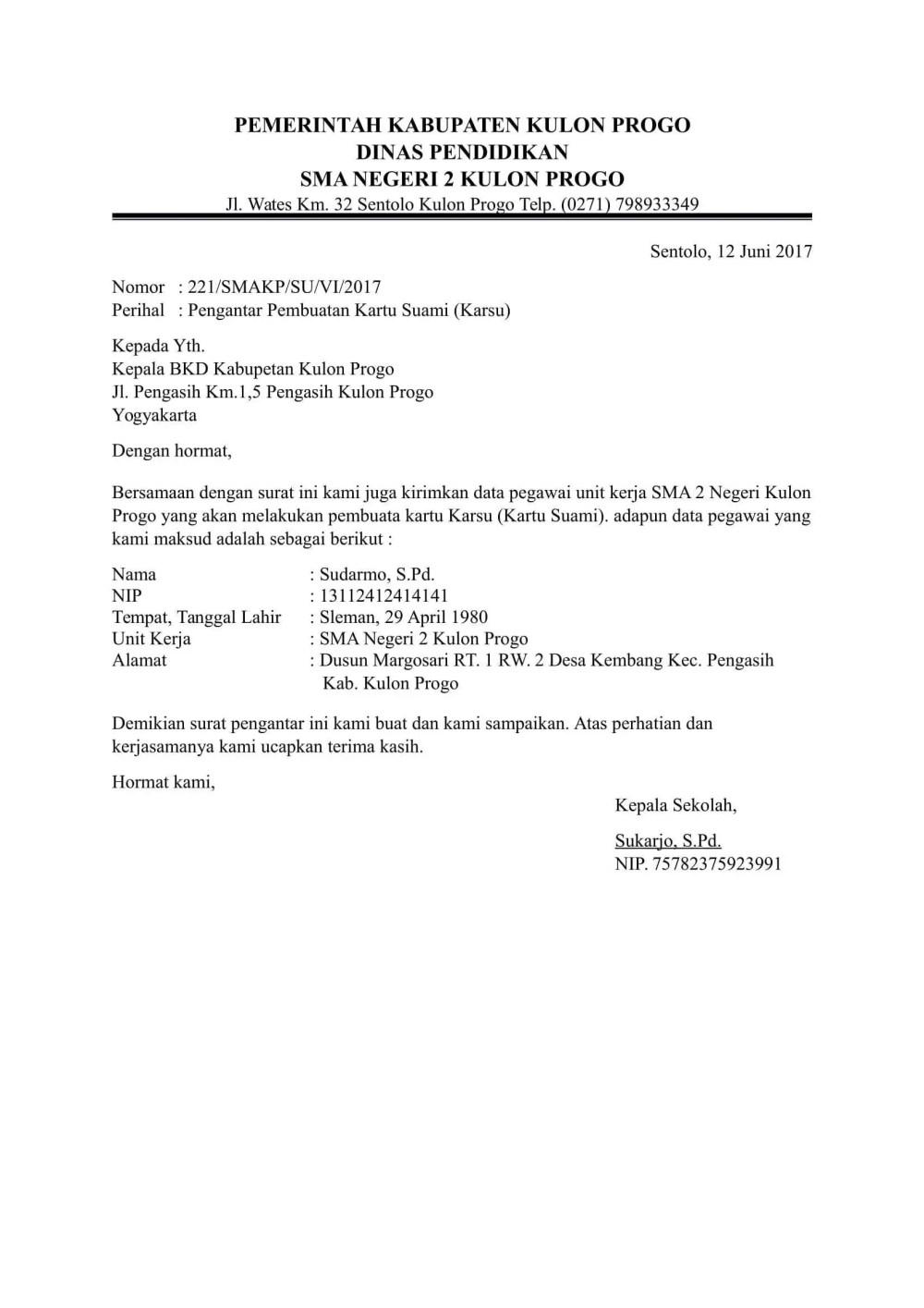 7. Contoh Surat Pengantar Dari Kepala Sekolah
