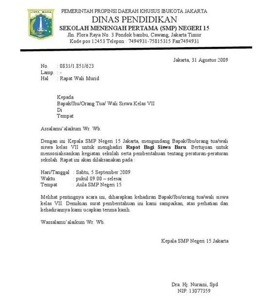 1. Contoh Surat Dinas Sekolah Berupa Undangan