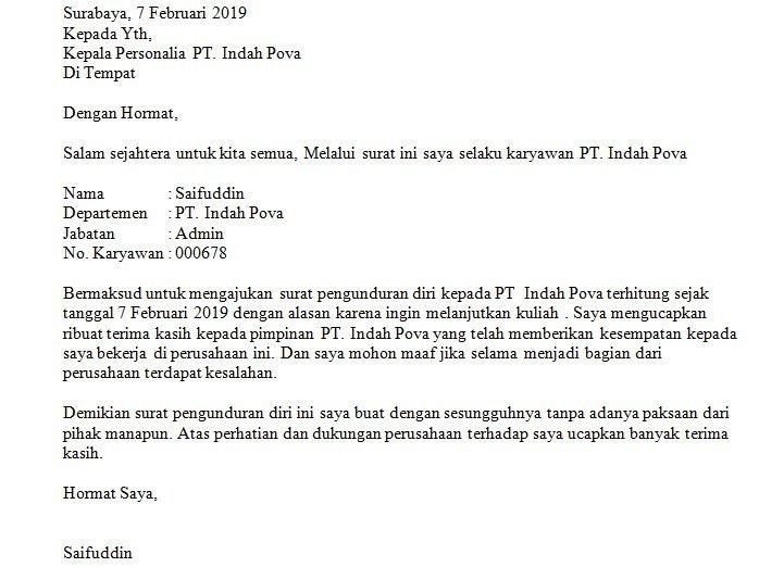 10. Contoh Surat Resign Kerja Karena Kuliah