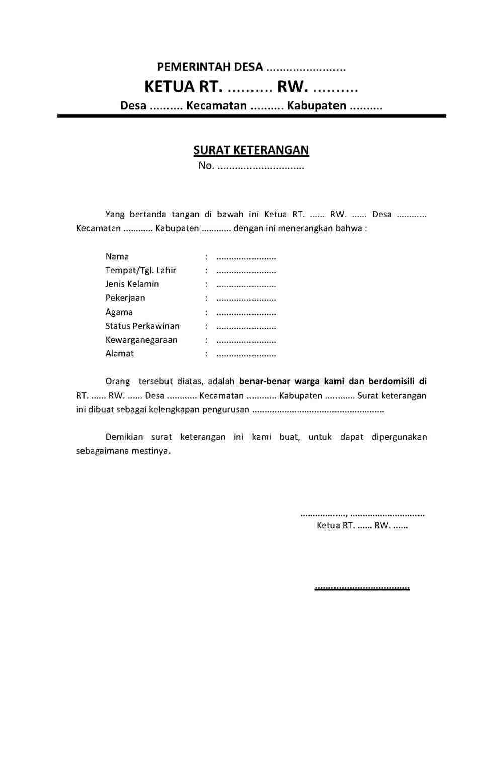 3. Contoh Surat Keterangan Domisili Dari RT