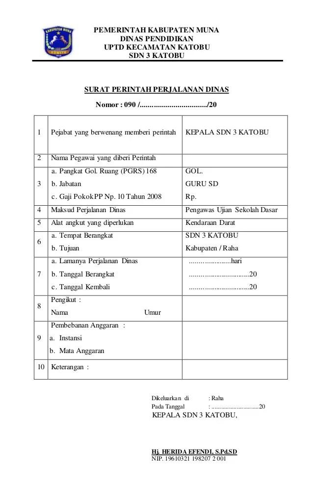 3. Contoh Surat Perintah Perjalanan Dinas Pemerintah (SPPD)