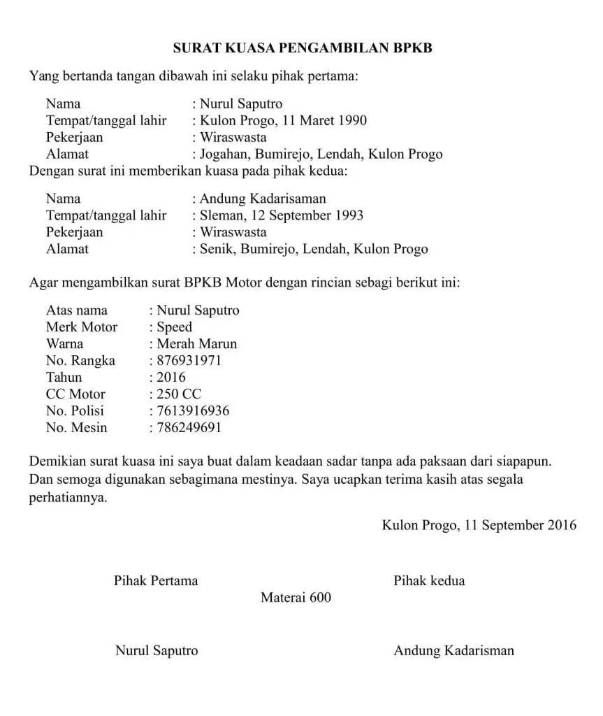 16 Contoh Surat Kuasa Pengambilan BPKB Motor / Mobil ...