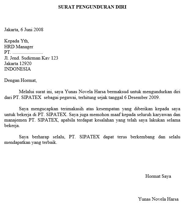 6. Contoh Surat Pengunduran Diri Kerja Di PT
