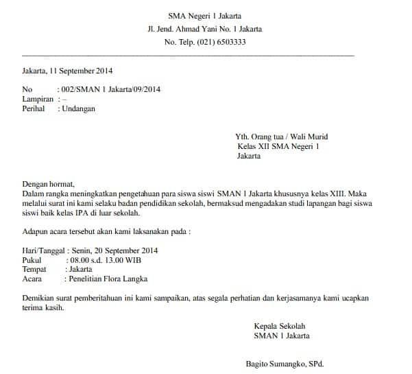7. Contoh Surat Dinas Resmi Bahasa Indonesia