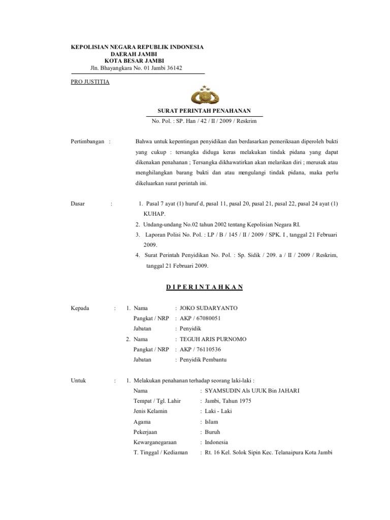 9. Contoh Surat Perintah Penangkapan