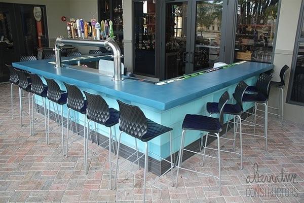 Clean Outdoor Bar Smooth Concrete CounterTop