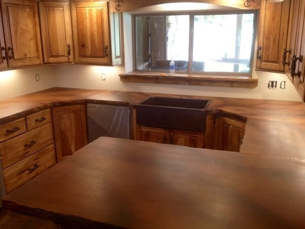 Orange And Brown Stained Concrete Kitchen Counters