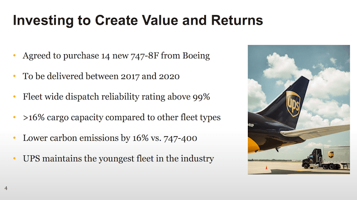 UPS Investing to Create Value and Returns