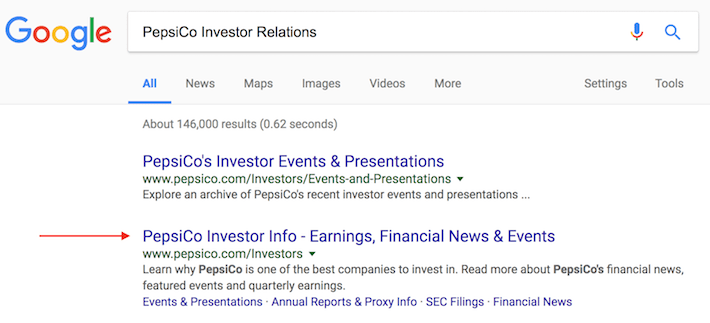 PepsiCo Investor Relations Google Search