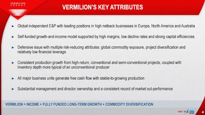 VET Vermilion Energy Vermilion's Key Attributes