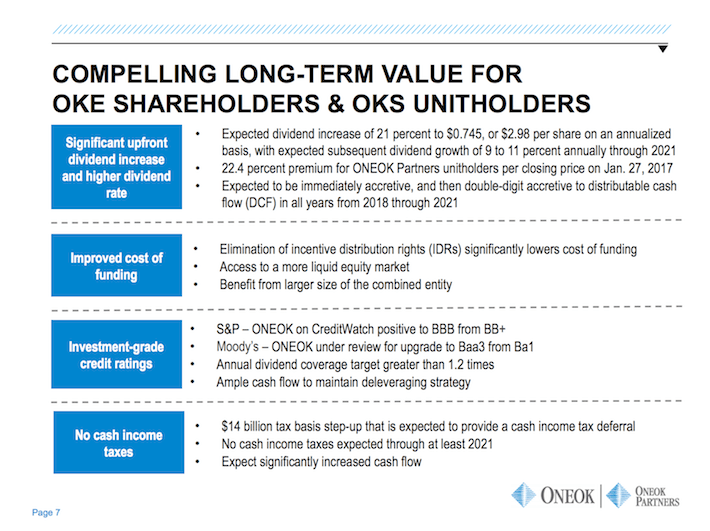 OKE ONEOK Compelling Long-Term Value For OKE Shareholder & OKS Unitholders