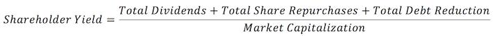 Company-Wide Shareholder Yield Calculation