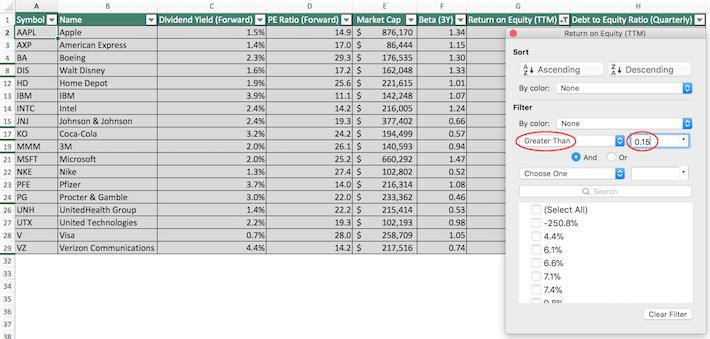 Dow Jones Excel Tutorial 2