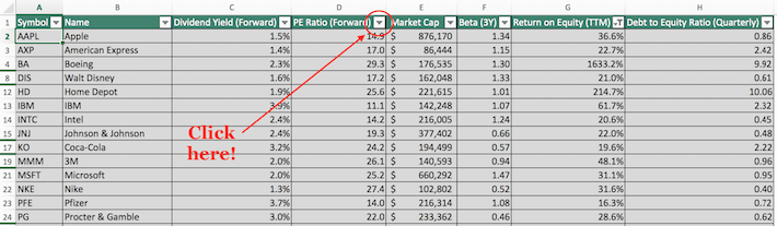 Dow Jones Excel Tutorial 3