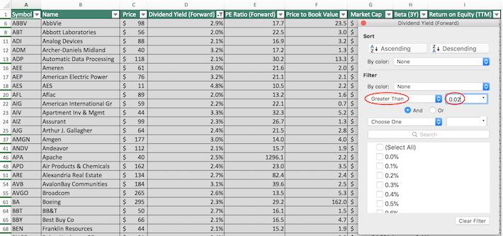 S&P 500 Stocks Excel Tutorial 6