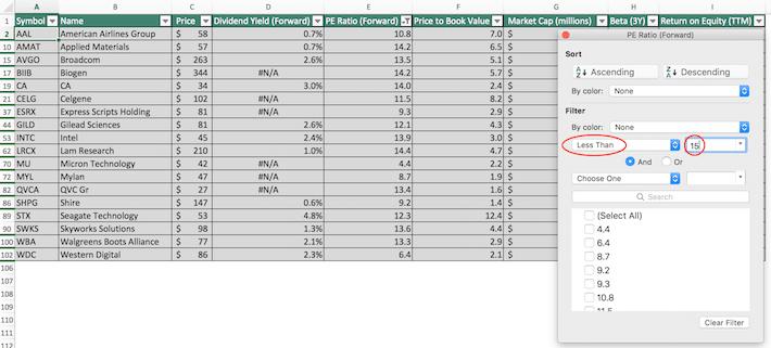 NASDAQ 100 Stocks Excel Tutorial 2