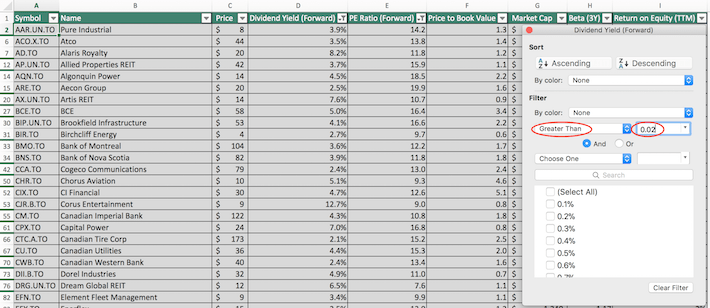 S&P TSX Composite Stocks Excel Tutorial 4