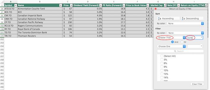 S&P TSX Composite Stocks Excel Tutorial 8