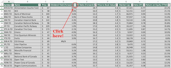 TSX 60 Stocks Excel Tutorial 3