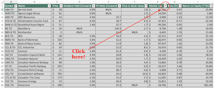 TSX 60 Stocks Excel Tutorial 5