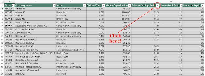 Dax Index Stocks Excel Tutorial 1